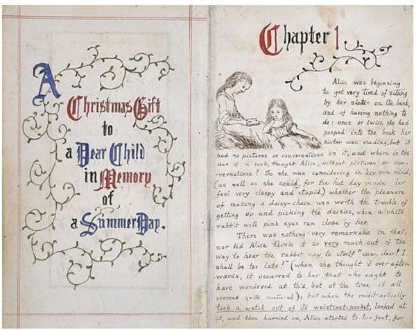 Manuscrito original e com ilustrações do autor de Alice no País das Maravilhas - Por Lewis Carroll em 1864