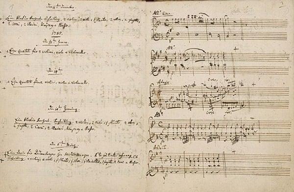 Manuscrito das Partituras do inigualável Wolfgang Amadeus Mozart