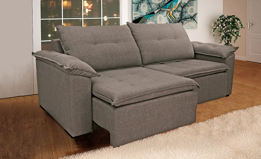 Sofa reclinavel marrom tres lugares tricurioso for Modelo sofa
