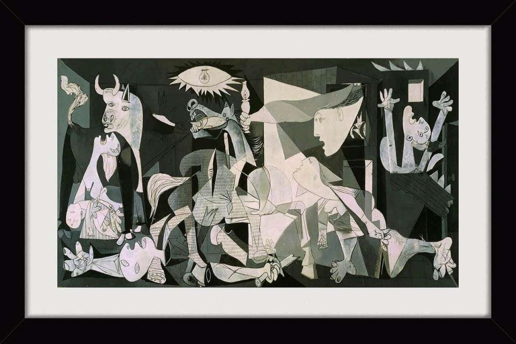 arte caótica quadro-pablo-picasso-7x47cm-guernica-pinturas-famosas tricurioso