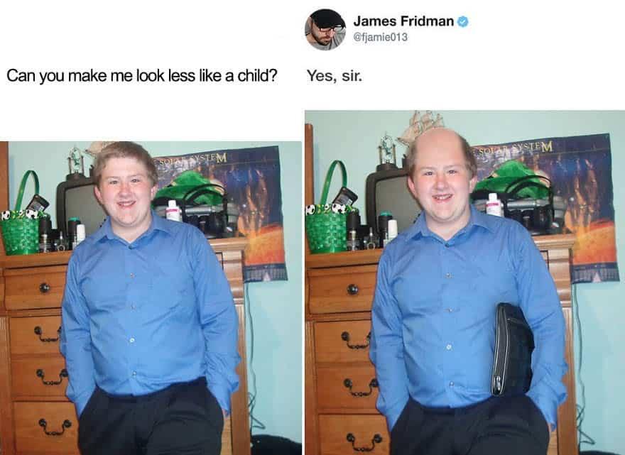 mestres do photoshop tricurioso humor montagem mais velho menos criança
