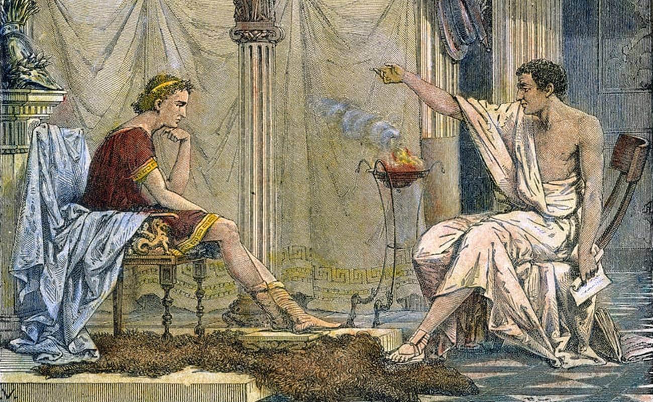 Pintura mostrando Aristóteles e Alexandre, o Grande